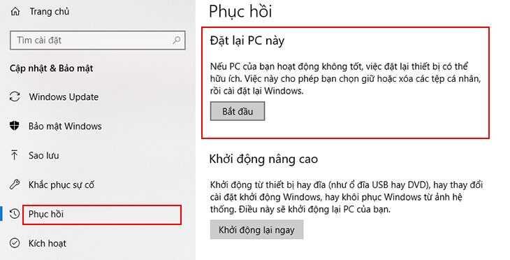 Trong tab Phục hồi, bạn chọn Bắt đầu tại mục Đặt lại PC này.